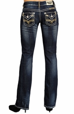 "Rock & Roll Cowgirl Low Rise Boot Cut Jeans with ""V"" Flap Pocket"