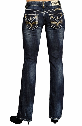 Rock & Roll Cowgirl Low Rise Boot Cut Jeans with
