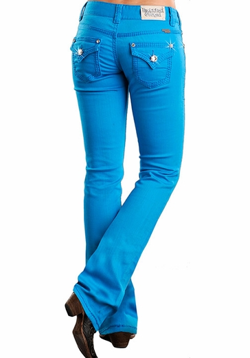 Rock & Roll Cowgirl Low Rise Colored Boot Cut Jeans with Flap Pockets - Turquoise (Closeout)