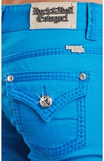 Rock & Roll Cowgirl Low Rise Colored Skinny Jeans with Flap Pockets - Turquoise (Closeout)
