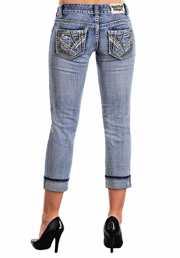 Rock & Roll Cowgirl Low Rise Crop Jeans with Embroidery and Rhinestones - Light Wash (Closeout)