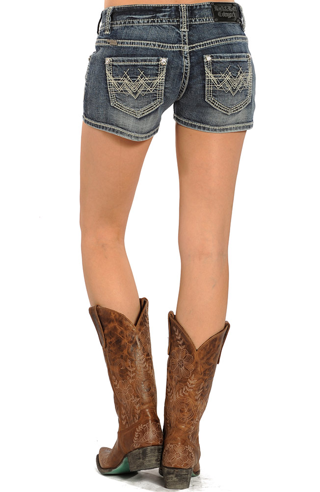 Rock & Roll Cowgirl Low Rise Denim Shorts (Closeout)