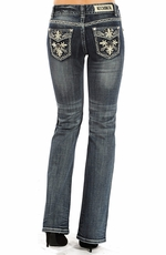 "Rock & Roll Cowgirl Women's Mid Rise Boot Cut ""Fleur Di Lis"" Jeans - Medium Vintage Wash"