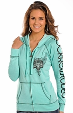 "Rock & Roll Cowgirl ""Rock Roll Rodeo"" Fleece Hoodie - Mint"