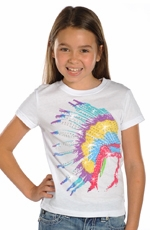 Rock & Roll Cowgirl Girls Short Sleeve Native American Headdress Tee Shirt - White