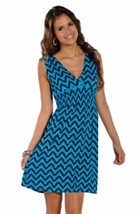 Rock & Roll Cowgirl Sleeveless Print Dress - Bright Turquoise (Closeout)