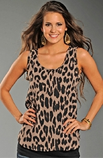 Rock & Roll Cowgirl Studded Leopard Top - Tan (Closeout)