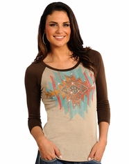 Rock & Roll Cowgirl Women's 3/4 Sleeve Aztec Print Top - Natural