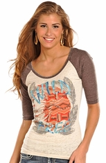 Rock & Roll Cowgirl Women's 3/4 Sleeve Burnout Top - Natural (Closeout)