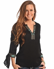 Rock & Roll Cowgirl Women's 3/4 Sleeve Embroidered Top-Black (Closeout)