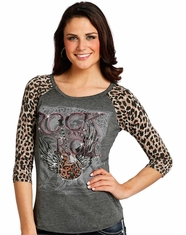 Rock & Roll Cowgirl Women's 3/4 Sleeve Leopard Print Logo Top - Grey