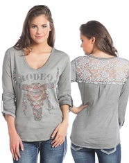 Rock & Roll Cowgirl Women's 3/4 Sleeve Print Top-Natural (Closeout)