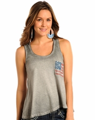 Rock & Roll Cowgirl Women's American Flag Tank Top - Light Grey (Closeout)