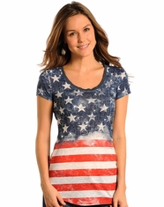 Rock & Roll Cowgirl Women's American Flag Top (Closeout)