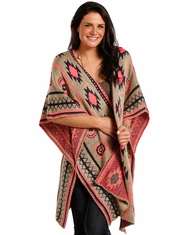 Rock & Roll Cowgirl Women's Aztec Poncho - Taupe