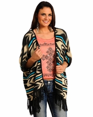 Rock & Roll Cowgirl Women's Aztec Print Cardigan - Charcoal (Closeout)
