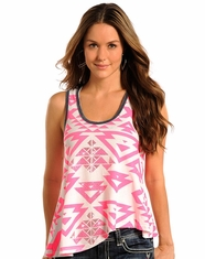 Rock & Roll Cowgirl Women's Aztec Print Tank Top - Hot Pink