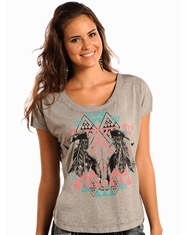Rock & Roll Cowgirl Women's Aztec Steer Skull Boxy Top - Light Grey (Closeout)