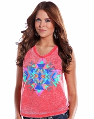 Rock & Roll Cowgirl Women's Aztec Tank Top - Coral (Closeout)