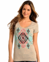 Rock & Roll Cowgirl Women's Aztec Top - Silver