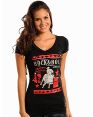 Rock & Roll Cowgirl Women's Barrel Racer Logo Top - Black (Closeout)