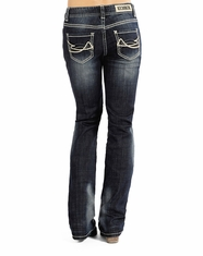 Rock & Roll Cowgirl Women's Boyfriend Fit Boot Cut Jeans - Dark Vintage