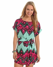 Rock & Roll Cowgirl Women's Cap Sleeve Print Dress - Aqua (Closeout)