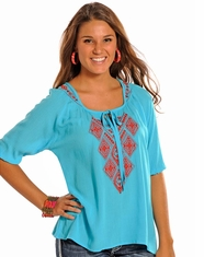 Rock & Roll Cowgirl Women's Crinkle Crepe Peasant Top - Light Turquoise