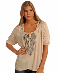 Rock & Roll Cowgirl Women's Crinkle Crepe Peasant Top - Tan (Closeout)