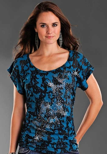 Rock & Roll Cowgirl Women's Dolman Sleeve Burnout Knit Top - Blue/ Black (Closeout)