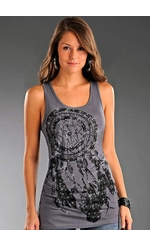 Rock & Roll Cowgirl Women's Dream Catcher Tank Top - Charcoal