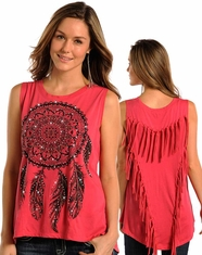 Rock & Roll Cowgirl Women's Dreamcatcher Fringe Tank Top - Coral