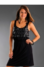 Rock & Roll Cowgirl Women's Dress with Flaps and Studs - Black (Closeout)
