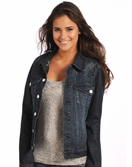 Rock & Roll Cowgirl Women's Embroidered Denim Jacket - Dark Wash