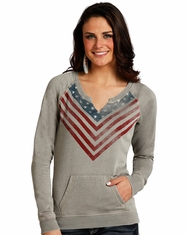 Rock & Roll Cowgirl Women's Flag Pull Over Sweatshirt - Grey