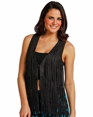Rock & Roll Cowgirl Women's Fringe Vest - Black