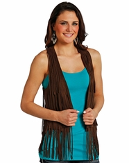 Rock & Roll Cowgirl Women's Fringe Vest - Brown