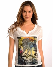 Rock & Roll Cowgirl Women's Indian Logo Top - White (Closeout)