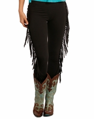 Rock & Roll Cowgirl Women's Junior Fit Fringe Legging - Black