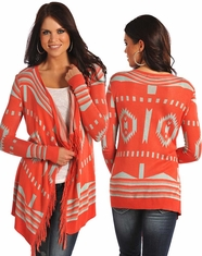 Rock & Roll Cowgirl Women's Long Sleeve Aztec Print Cardigan-Coral (Closeout)
