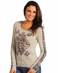Rock & Roll Cowgirl Women's Long Sleeve Aztec Print Top - Grey