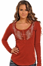 Rock & Roll Cowgirl Women's Long Sleeve Bib Henley - Red (Closeout)