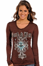 Rock & Roll Cowgirl Women's Long Sleeve Cross Logo Top - Brown (Closeout)