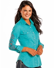 Rock & Roll Cowgirl Women's Long Sleeve Embroidered Snap Shirt - Blue