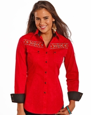 Rock & Roll Cowgirl Women's Long Sleeve Embroidered Snap Shirt - Red
