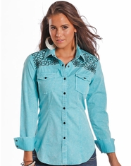 Rock & Roll Cowgirl Women's Long Sleeve Embroidered Snap Shirt - Turquoise