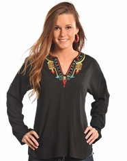 Rock & Roll Cowgirl Women's Long Sleeve Embroidered Top-Black (Closeout)