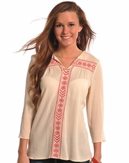 Rock & Roll Cowgirl Women's Long Sleeve Embroidered Top-Natural (Closeout)