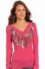 Rock & Roll Cowgirl Women's Long Sleeve Feather Burnout Henley - Pink