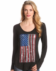 Rock & Roll Cowgirl Women's Long Sleeve Flag Top-Black (Closeout)